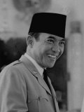 Pres. of Indonesian Republic Sukarno, During Indonesian Elections Premium Photographic Print