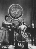 Cellist Pablo Casals Playing a Concert at the Un Premium Photographic Print