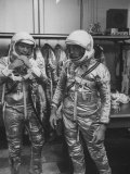 Astronauts John Glenn and Alan Shepard Putting on their Space Suits Premium Photographic Print by Ralph Morse
