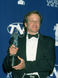 Actor Robin Williams Holding His Sag Award in Press Room of Screen Actors Guild Awards Premium Photographic Print by Mirek Towski