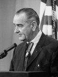 President Lyndon B. Johnson at Press Conference Premium Photographic Print