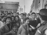 Happy Cubans Cheering for Fidel Castro after the Downfall of the Government Premium Photographic Print