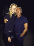 Actress Gwyneth Paltrow and Designer Giorgio Armani at Armani Grand Opening Premium Photographic Print by Dave Allocca