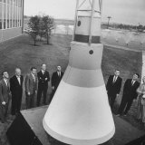 Canidates for 1st Man into Space Standing with Model of Capsule for Project Mercury Fotodruck