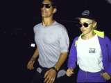 Singer Madonna Jogging with Boyfriend Tony Ward, Both Wearing Sunglasses Premium Photographic Print