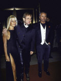 Designer Donatello Versace, Singer Songwriter Elton John and Designer Gianni Versace Premium Photographic Print