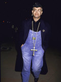 Singer Songwriter Elton John Wearing Overalls and a Large Cross Necklace Premium Photographic Print