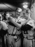 Baseball Player Lew Burdette Standing with Fellow Player in the Locker Room During the World Series Premium Photographic Print