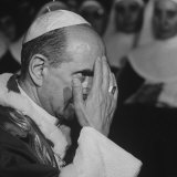 Pope Paul Vi, Officiating at Ash Wednesday Service in Santa Sabina Church Photographic Print by Carlo Bavagnoli
