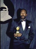 Singer Marvin Gaye Holding His Award in Press Room at Grammy Awards Premium Photographic Print