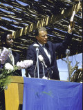 Evangelist Billy Graham Preaching to Crowd During His African Crusade Premium Photographic Print