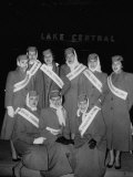 Striking Airline Stewardesses Standing in a Group at Lake Central Airport Premium Photographic Print