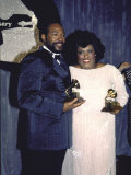 Singers Marvin Gaye and Jennifer Holiday Holding their Award in Press Room at Grammy Awards Premium Photographic Print