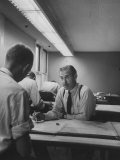 Architect Mario J. Ciampi at His Desk W. Sketches Premium Photographic Print