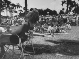 Actress Esther Williams Sitting at Cypress Gardens Premium Photographic Print