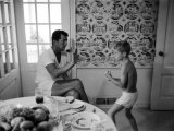 Entertainer Dean Martin Sparring with His Son at Home Metal Print by Allan Grant