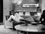 Entertainer Dean Martin Yawning at Home Premium Photographic Print by Allan Grant
