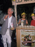 Actor Paul Newman Standing Next to a Stand Sell Newman's Own Virgin Lemonade Premium Photographic Print