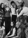 "Olympic Swimming Champion Mark Spitz Posing with Girls from the TV Show, ""The Golddiggers"" Premium Photographic Print"