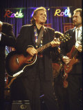 Singer Johnny Cash Performing Premium Photographic Print by David Mcgough