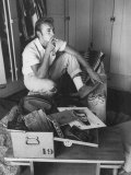 Actor Nick Adams Sitting with His Momentos of James Dean in Steel Strongbox in His Home Premium Photographic Print by Allan Grant