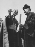 Pope Paul Vi Receiving Honorary Degree at Notre Dame Univ. from Father Theodore M. Hesburgh Premium Photographic Print