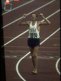 US Athlete Frank Shorter after Winning a Marathon Race at the Summer Olympics Reproduction sur métal par John Dominis