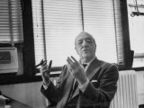 Architect Mies Van Der Rohe Expressing Feelings at His Desk Premium Photographic Print