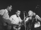 The Kingston Trio Bob Shane, Dave Guard, and Nick Reynolds During a Concert Premium Photographic Print by Alfred Eisenstaedt