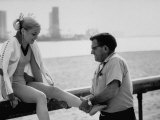 Olympic Gold Medal Cathy Rigby,, Having Ankle Rubbed by Coach, Bud Marquette after Practice Premium Photographic Print by John Dominis