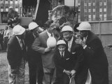 Jackie Gleason, Toots Shor and Jack Demsey at Ground Breaking Ceremony for New Restaraunt Premium Photographic Print