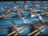 Multiple Exposure of Us Rowing Crew at Summer Olympics Premium Photographic Print