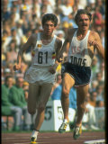 US Track Athlete Steve Prefontaine and Emiel Puttemans Running a Race at the Summer Olympics Premium Photographic Print