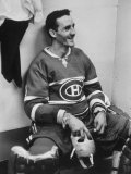 Goalie Jacques Plante in Locker Room, During Game Premium Photographic Print