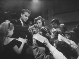 "Dick Clark Signing His Autograph for Fans of His TV Show the ""American Bandstand"" Premium Photographic Print"