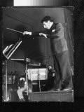 Conductor John Barbirolli Leading the New York Philharmonic Premium Photographic Print by Margaret Bourke-White