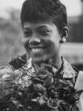 Wilma Rudolph in Homecoming Parade after Her Win of 3 Gold Medals in Rome Olympics Premium Photographic Print