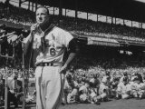 Major League Baseball Player, Stan Musial, Announcing His Retirement from Baseball Premium Photographic Print