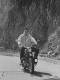 Country Singer Roger Miller Riding a Motorcycle Premium Photographic Print by Ralph Crane