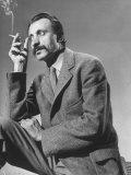 Armenian Artist Arshile Gorky Holding a Cigarette Premium Photographic Print by Gjon Mili