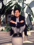 Asian-American Playwright David Henry Hwang Posed Crouching on a Law Stone Pedestal Premium Photographic Print by Ted Thai