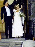 Professional Tennis Player John Mcenroe and Tatum O'Neal on their Wedding Day Premium Photographic Print by Ann Clifford