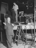 "Alfred HitchcockOn Film Set During Shooting of ""Lifeboat"" Premium Photographic Print"
