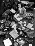 Life Photographer Margret Bourke-White Sitting Amidst Contents of Opened Suitcase Premium Photographic Print by Alfred Eisenstaedt