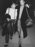 Actor Kevin Costner and Wife Cindy Arriving at Lax Premium Photographic Print by Kevin Winter