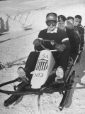 Joseph Meconi Sitting in Driver's Seat of Bobsled with Teammates at Winter Olympics Premium Photographic Print