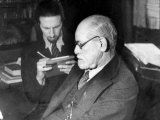 Dr. Sigmund Freud, Father of Psychoanalysis, Sitting with Man Who Is Taking Notes Premium Photographic Print