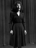 Singer Edith Piaf Singing on Stage Premium Photographic Print by Gjon Mili