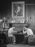 Artist Fletcher Martin, and a Friend Playing a Chess Game Premium Photographic Print by Peter Stackpole