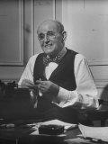 Author Lloyd C. Douglas Working at His Typewriter Premium Photographic Print by J. R. Eyerman
